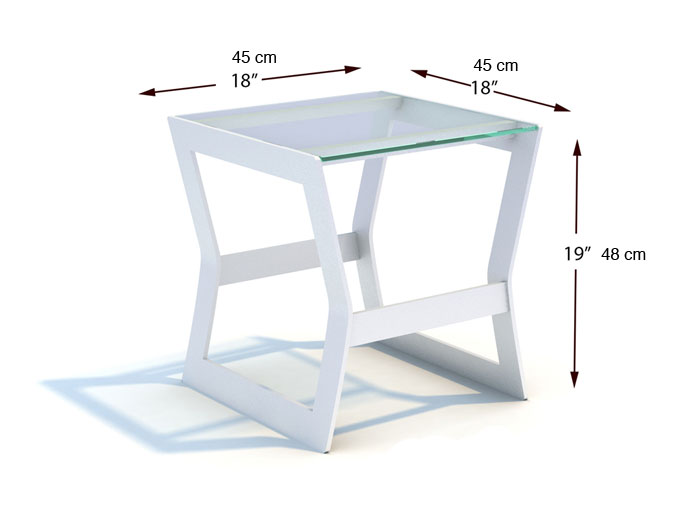 Dimensions complètes table d'appoint Marine (croquis)