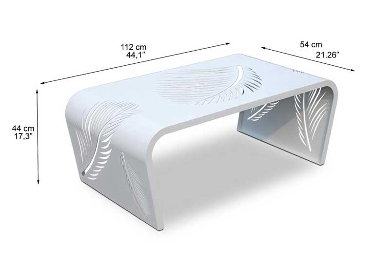 Dimensions complètes table basse en métal Pure de Lusso (croquis)