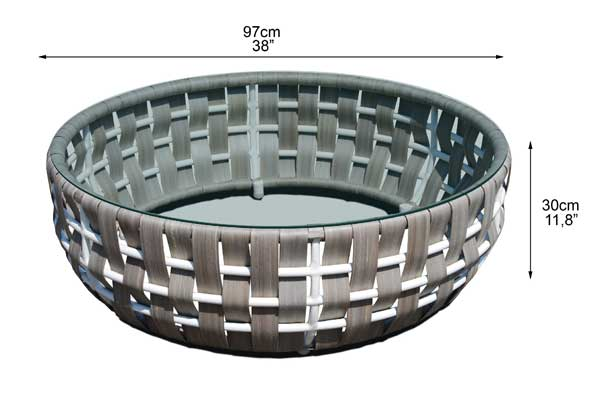 Dimensions de la table basse Irio (croquis)