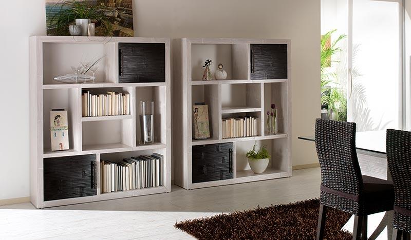 Bibliothèque design en bambou déroulé, 2 portes, gamme Essential