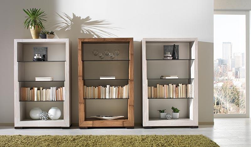 Bibliothèque bambou, trois étagères en verre, couleur au choix, collection Indah