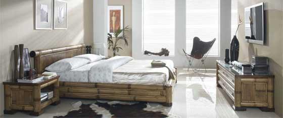 Lit baldaquin en teck rotin bambou chambre exotique for Chambre a coucher en bambou