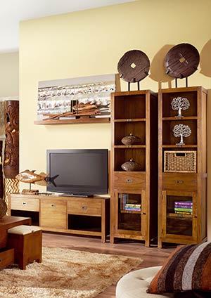 Mawan meuble contemporain en bois massif - Meuble tv avec colonne rangement ...