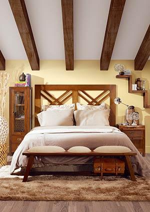 Chambre adulte en bois, pied de lit banc en bois de mindy, collection Mawan