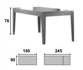 Dimensions de la table salle à manger Mighty (180/245*90*76)