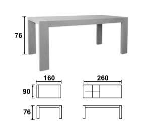 Dimensions de la table salle à manger chêne Mighty