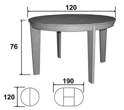 Dimensions techniques de la table salle à manger