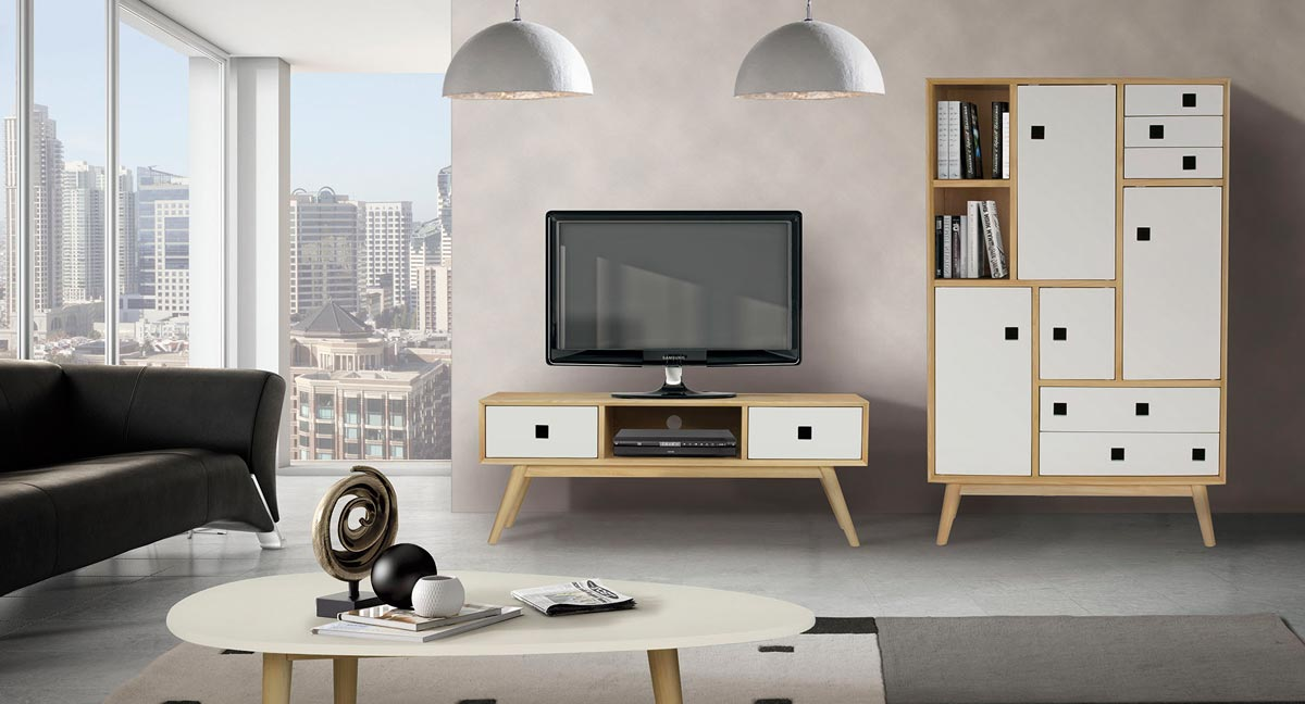 meubles modernes en ch ne blancs nordic. Black Bedroom Furniture Sets. Home Design Ideas