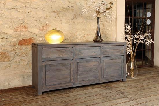 (Ambiance) Buffet bois gris 3 portes 3 tiroirs Osbcur