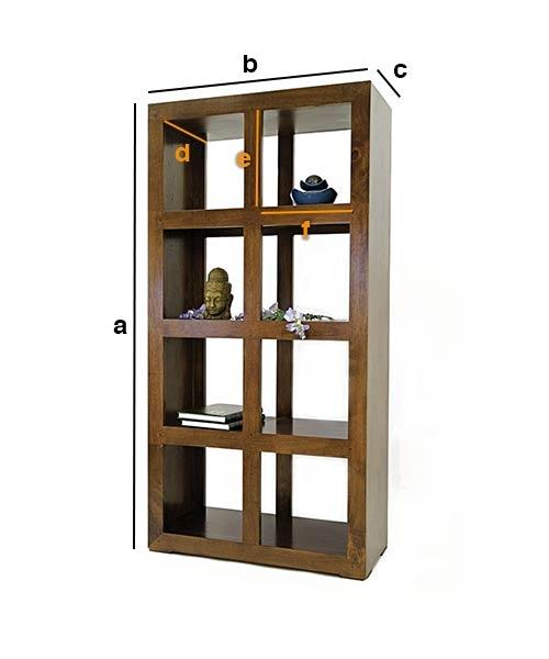 Dimensions bibliothèque en bois personnalisable double face