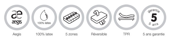 Aegis - 100% latex - 5 zones - Réversible - TPR - Garantie 5 ans