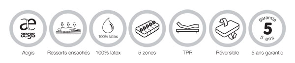 Aegis - Ressorts ensachés - 100% latex - 5 zones - TPR Réversible - 5 ans garantie