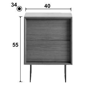 Dimension du chevet Sitel avec pied en métal (option payante)