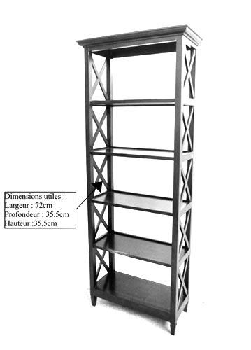 Dimensions utiles bibliothèque en bois croisillon