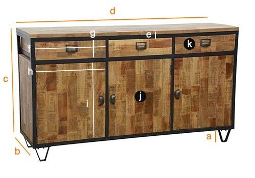 Dimensions détaillées du buffet Indus 3 portes 3 tiroirs