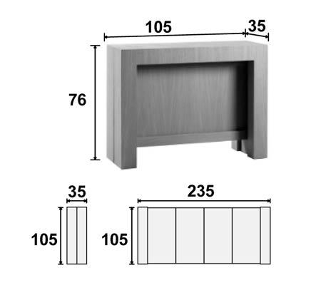 Dimensions complètes de la console & de la console transformée en table