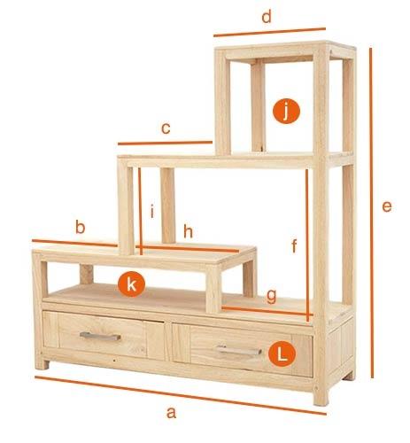 Dimensions détaillées de l'étagère escalier double face