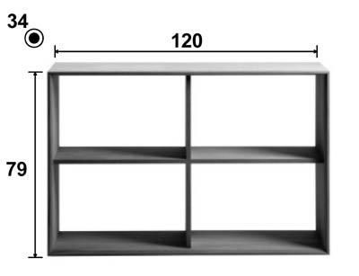 Dimensions techniques de l'étagère Tunarte