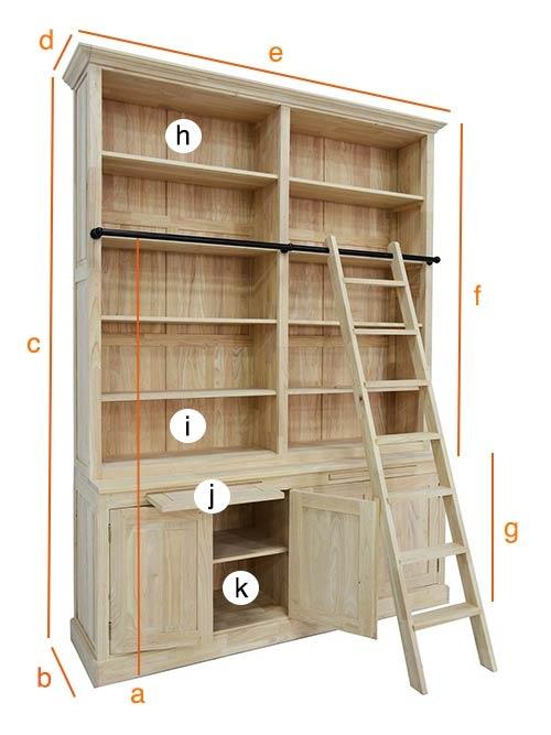 Dimensions détaillées de la grande bibliothèque Ahor