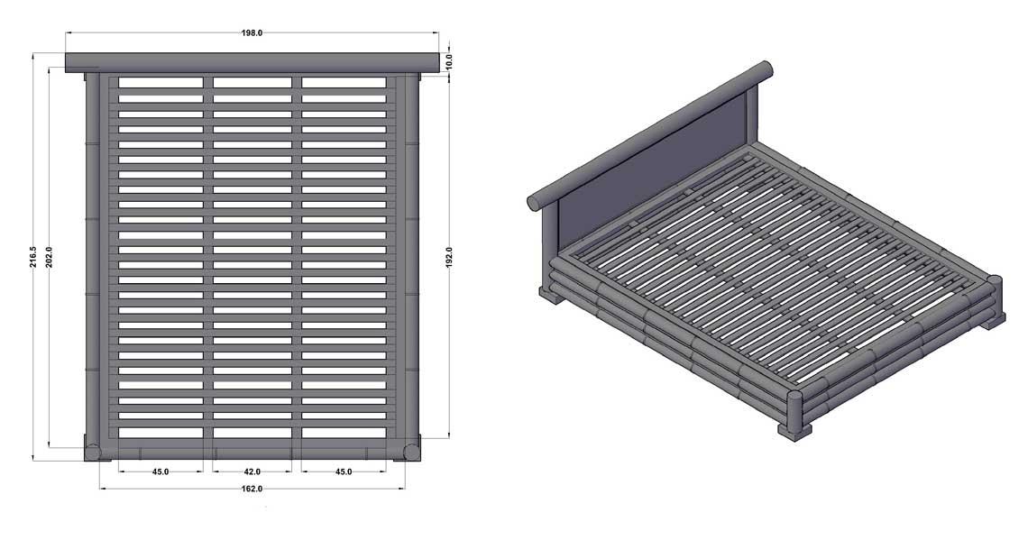Dimensions complètes du lit Java - Vue aérienne