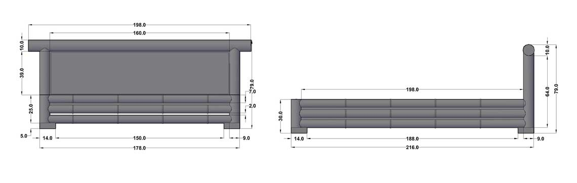 Dimensions complètes du lit Java - Vue côté