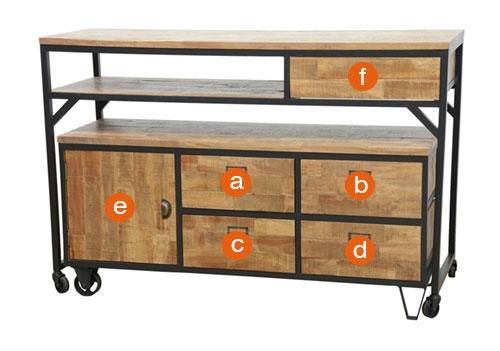 Dimensions utiles des tiroirs du meuble 2-en-1 Indus