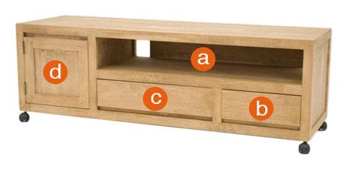 Dimensions utiles des rangements du meuble Calveth