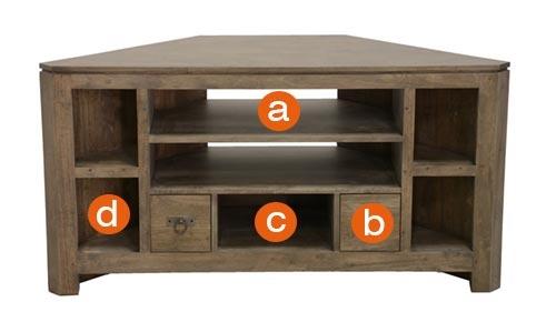 Dimensions du meuble TV d'angle Quixa