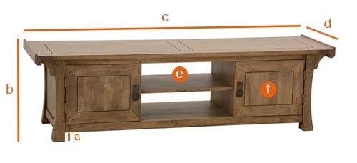 Dimensions détaillées du meuble TV asiatique Jorg 150 cm