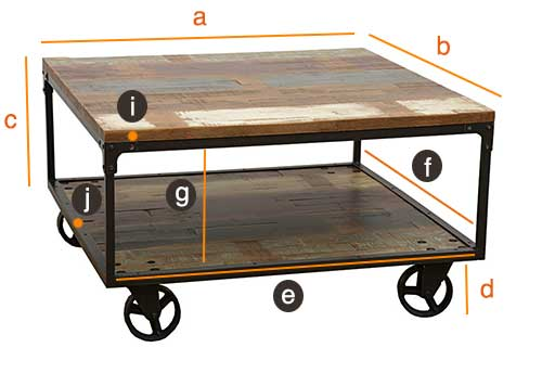 Dimensions table basse industrielle