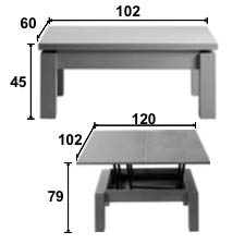 Dimensions table basse Petty