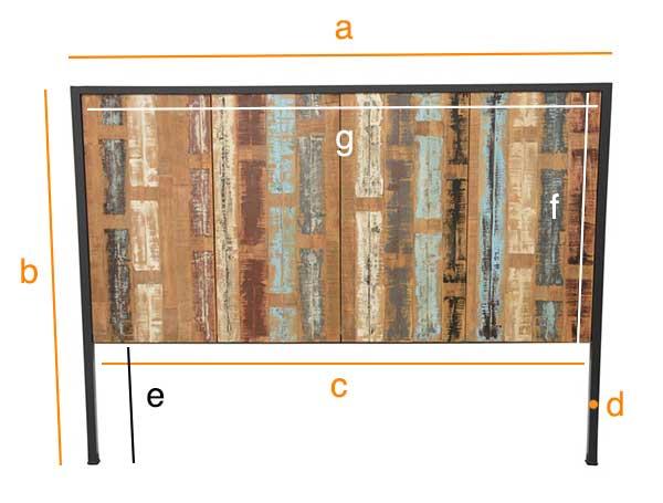 Dimensions détaillées de la tête de lit Indus