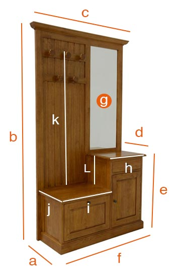 Dimensions détaillées du vestiaire d'entrée Florence
