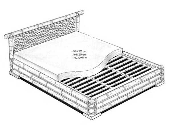 Croquis du lit java - Il existe en 3 dimensions (140,160,180) - Sommier intégré