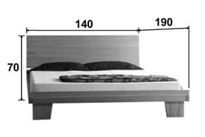Lit en chêne Artosis - Croquis dimension couchage 140 * 190