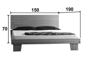 Lit en chêne Artosis - Croquis dimension couchage 150 * 190