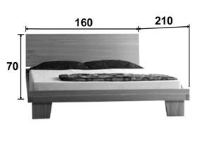Lit en chêne Artosis - Croquis dimension couchage 160 * 200
