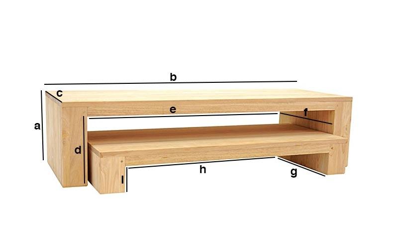 Dimensions meuble TV 2 parties personnalisable