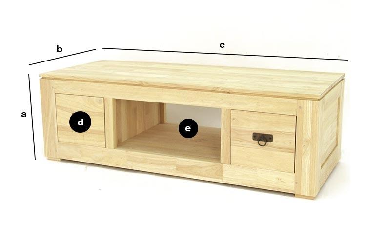 Dimensions du meuble TV vidéo bois recyclé