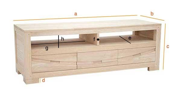 Dimensions du meuble TV Wakae