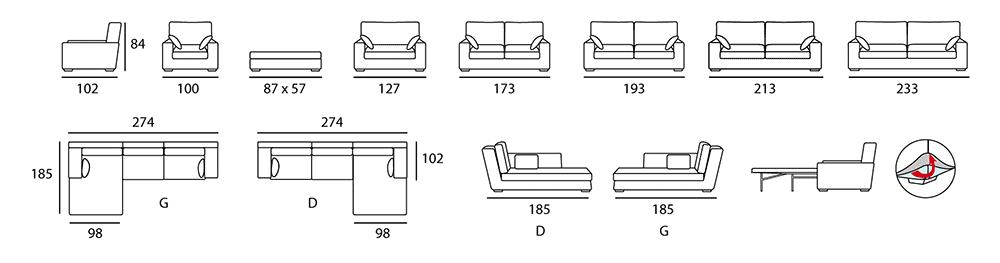 Les différents modules disponibles dans la même gamme - Dans le même modèle : convertible, batard, meridienne, fauteuil, fauteuil XL, pouf XL