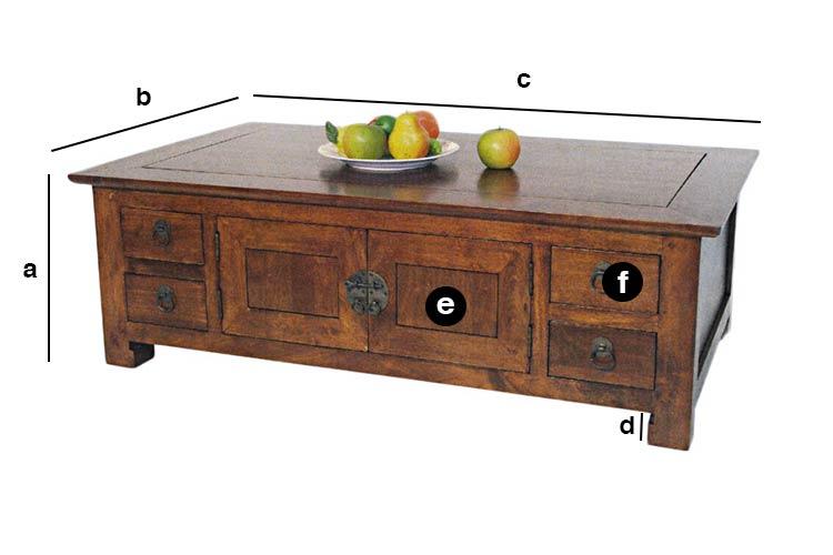 Dimensions table basse tiroirs et portes Chine