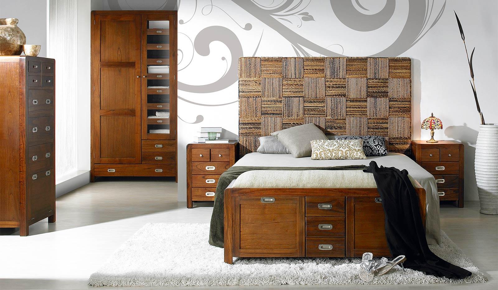 Collection Rattan - Tête de lit en corde tressée, motif géometrique