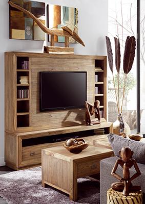 Meuble mur TV complet en bois de Mindy Ronja