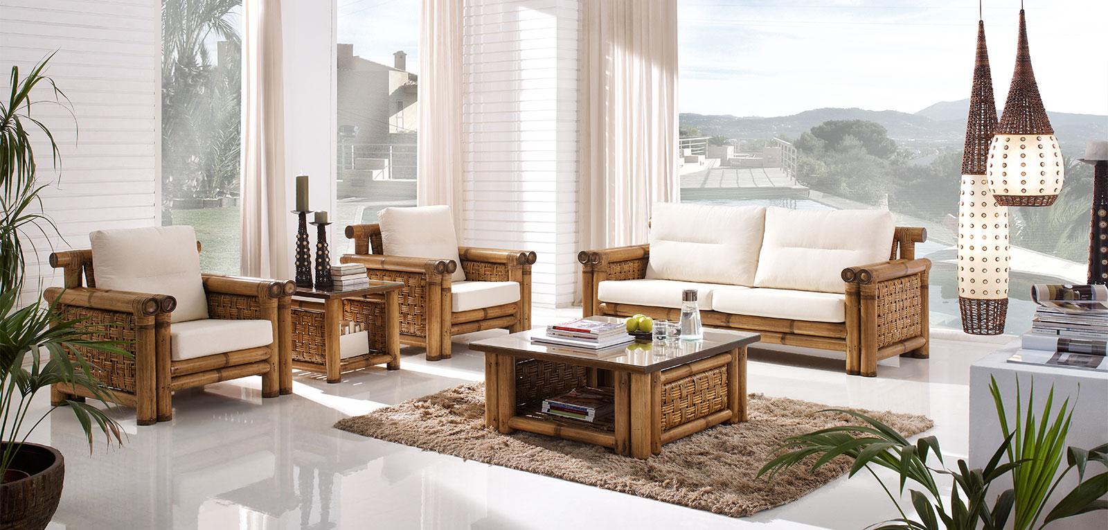 salons et living en bambou un int rieur chic et exotique avec art bambou. Black Bedroom Furniture Sets. Home Design Ideas